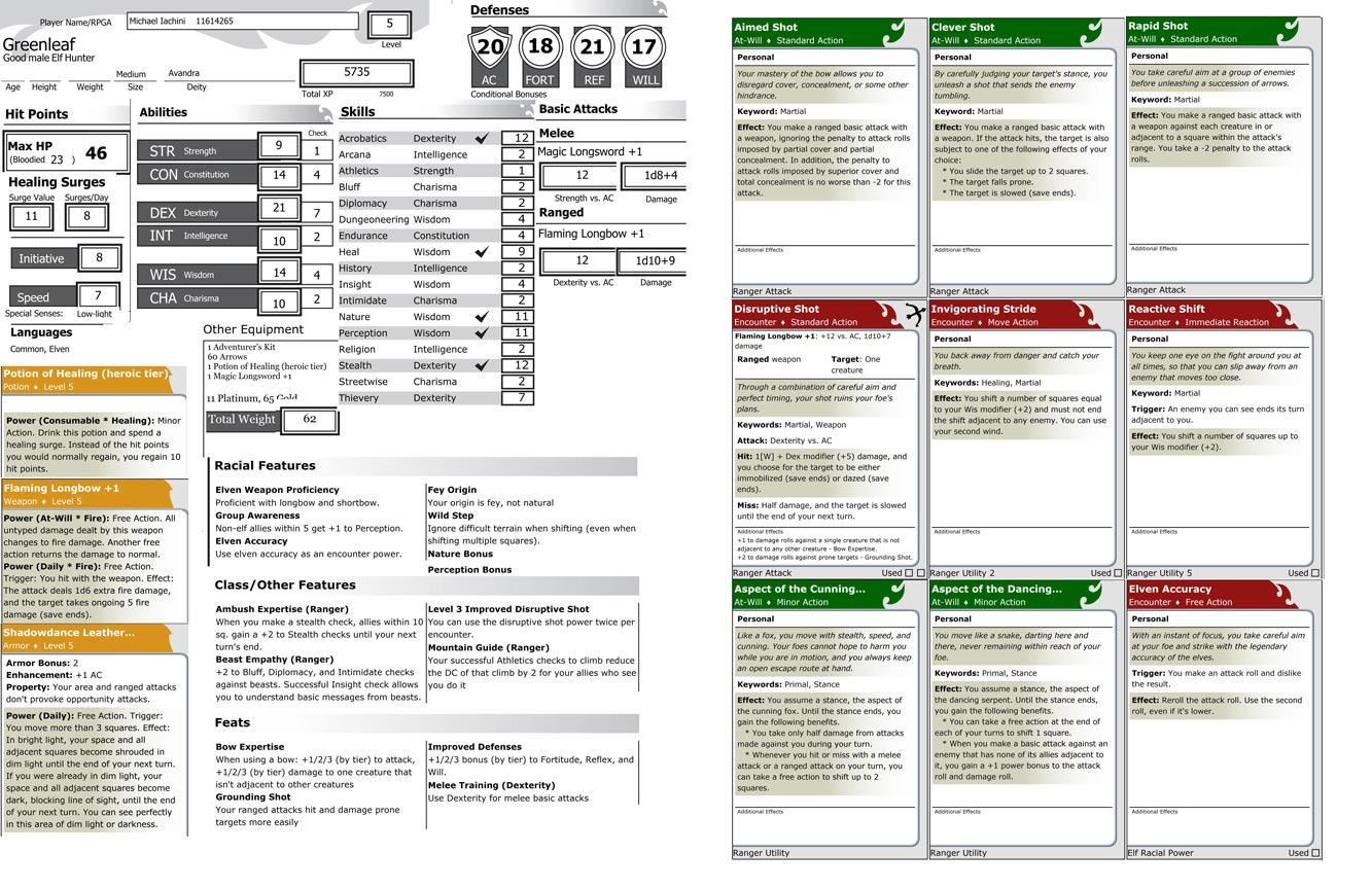 Homebrew One-page character sheet from the online Character Builder